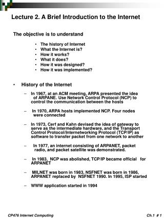 Lecture 2. A Brief Introduction to the Internet