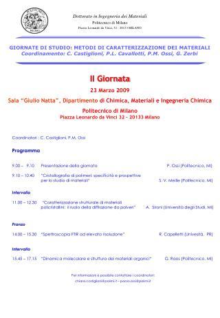 Dottorato in Ingegneria dei Materiali Politecnico di Milano
