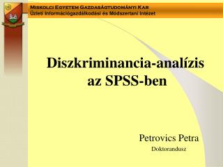 Diszkriminancia-analízis  az SPSS-ben