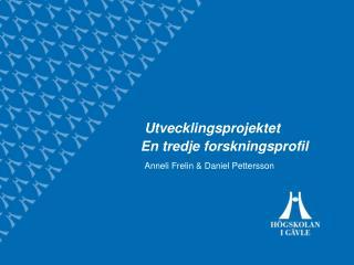 Utvecklingsprojektet En tredje forskningsprofil
