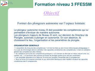 Formation niveau 3 FFESSM