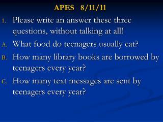 APES   8/11/11