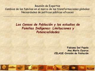 Los Censos de Población y los estudios de Familias Indígenas: Limitaciones y Potencialidades