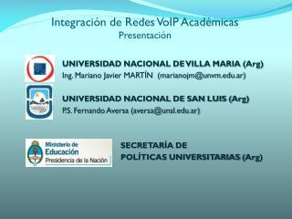 Integración de Redes  VoIP  Académicas Presentación