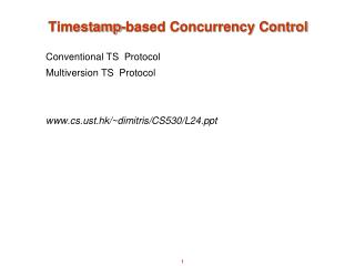 Timestamp-based Concurrency Control