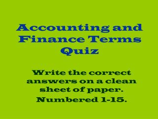 Accounting and Finance Terms Quiz