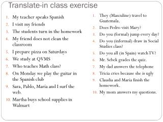 Translate-in class exercise