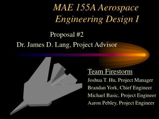 MAE 155A Aerospace Engineering Design I