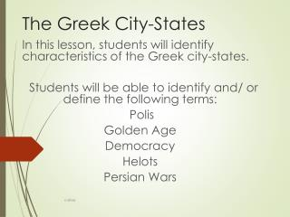The Greek City-States