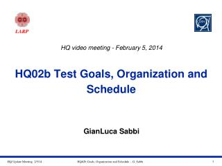 HQ02b Test Goals, Organization and Schedule