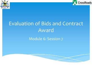 Evaluation of Bids and Contract Award