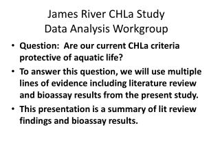 James River CHLa Study  Data Analysis Workgroup