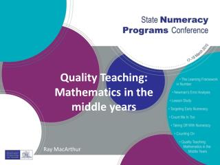 Quality Teaching: Mathematics in the middle years