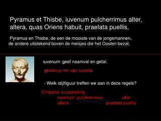 Pyramus en Thisbe, de een de mooiste van de jongemannen,