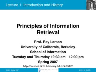 Lecture 1: Introduction and History