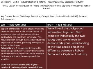 US History – Unit 2 – Industrialization & Reform –  Robber Barons or Captains of Industry