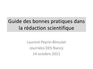 Guide des bonnes pratiques dans la rédaction scientifique