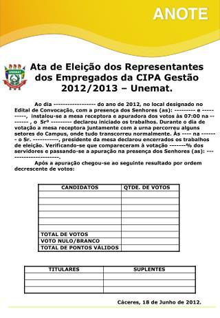Ata de Eleição dos Representantes dos Empregados da CIPA Gestão 2012/2013 – Unemat.