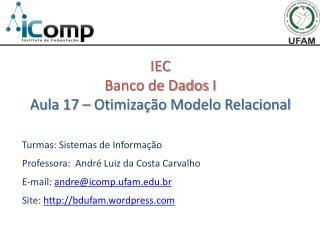 IEC Banco de Dados  I Aula 17  – Otimização Modelo Relacional