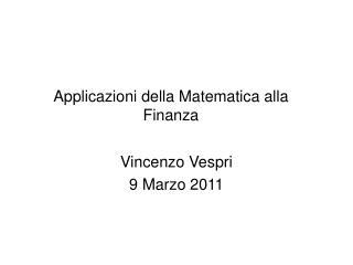 Applicazioni della Matematica alla Finanza
