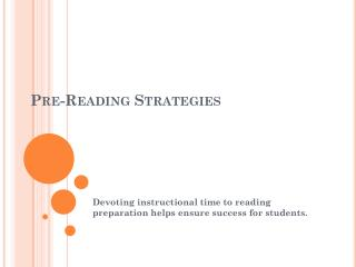 Pre-Reading  Strategies