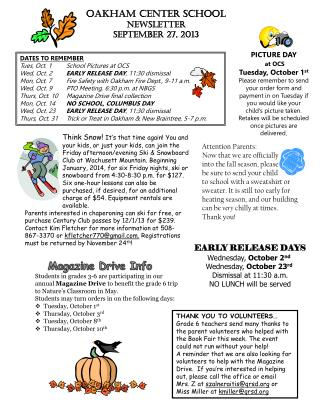 OAKHAM CENTER SCHOOL  NEWSLETTER september 27, 2013