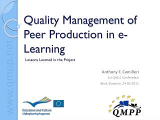 Quality Management of Peer Production in e-Learning