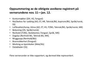 Oppsummering av de viktigste avvikene registrert på vernerundene nov. 11—jan. 12.