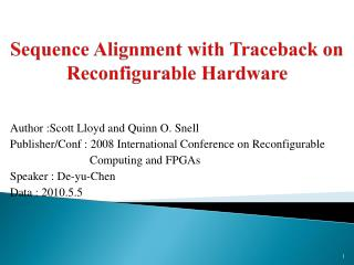 Sequence Alignment with  Traceback  on Reconfigurable Hardware