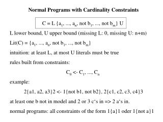 Normal Programs with Cardinality Constraints