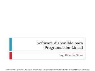 Software disponible para Programación Lineal
