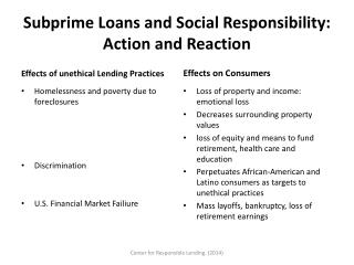 Subprime Loans and Social Responsibility: Action and Reaction