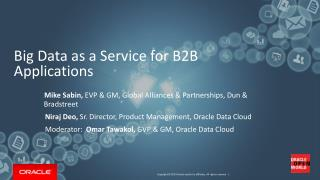 Big Data as a Service for B2B Applications