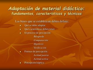 Adaptaci n de material did ctico: fundamentos, caracter sticas y t cnicas
