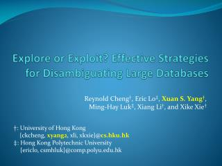 Explore or Exploit? Effective Strategies for Disambiguating Large Databases