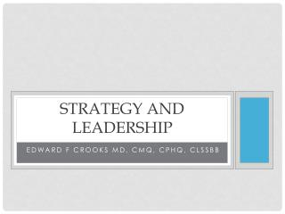 Strategy and Leadership