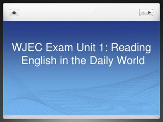 WJEC Exam  Unit 1: Reading  English in the Daily World