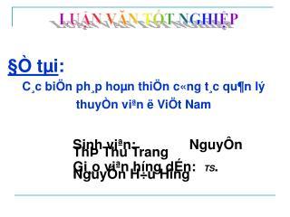 Sinh viªn:              NguyÔn ThÞ Thu Trang  Gi¸o viªn híng dÉn:   TS . NguyÔn H÷u Hïng