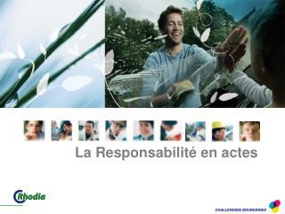 La Responsabilité en actes