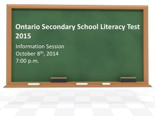 Ontario Secondary School Literacy Test 2015