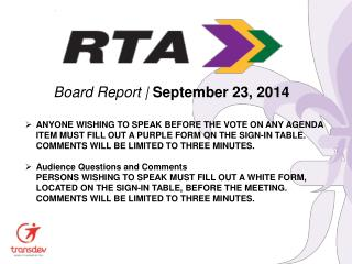 Board Report |  September 23, 2014