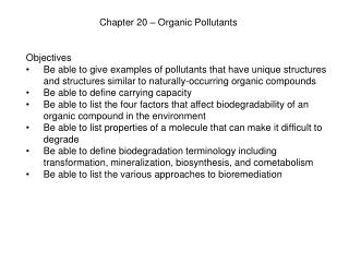 Chapter 20 � Organic Pollutants