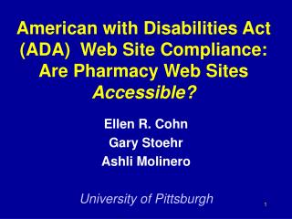 American with Disabilities Act ADA  Web Site Compliance: Are Pharmacy Web Sites Accessible