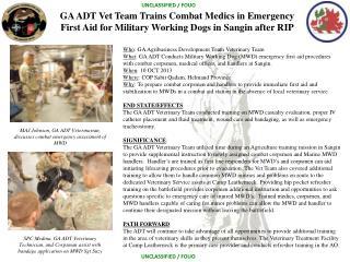 Who : GA Agribusiness Development Team Veterinary Team