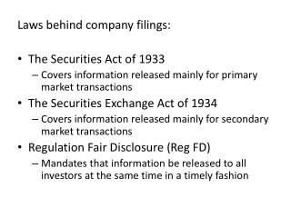 Laws behind company filings: The Securities Act of 1933