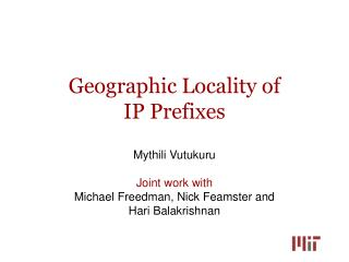 Geographic Locality of  IP Prefixes