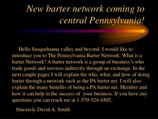 New barter network coming to central Pennsylvania