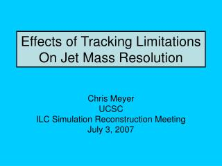 Effects of Tracking Limitations On Jet Mass Resolution