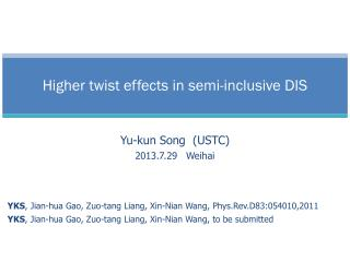 Higher twist effects in semi-inclusive DIS