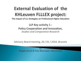 LLP Key activity 1 :  Policy Cooperation and Innovation,  Studies and Comparative Research